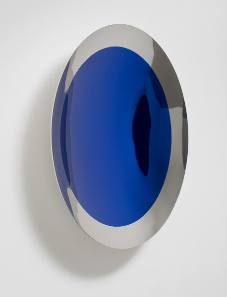 Untitled (Cobalt) (2014), stainless steel and lacquer, 120 x 120 x 21 cm.