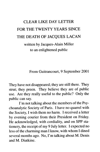 first page of Miller's Second Letter