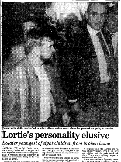 Extract from an article, which appeared in the Winnipeg Free Press on Thursday 10 May 1994. Denis Lortie can be seen in the foreground on the left.